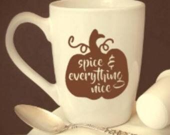 pumpkin/spice/everything/nice/basic/fall/halloween/leaves/gift/coffee/cup/mug