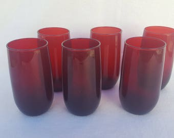 6 Anchor Hocking Ruby Red Roly Poly Tumblers 12 oz