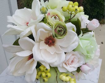 Silk Flowers,Magnolias,OffWhite,Pink,Real Touch Blush Pink,Wedding, Beige,Bridal Bouquet,Ranunculus,Ivory,Green Roses,Peonies,Yellow Berries