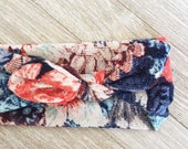 Blue Floral Print Fabric Stretch Headband for baby, toddler or Adult
