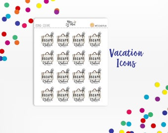 Planner Sticker Icons- Vacation Icons; Weekend Getaway