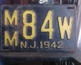 Unrestored 1942 New Jersey License Plate