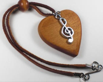 Rear View Mirror Heart-Musical Note Charm