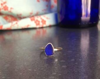 Deep Blue Sea Glass Ring