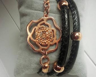 Black bracelet pink snakeskin leather circles jewelry women gift idea