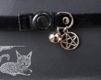 Wiccan BLACK PENTAGRAM Cat Collar