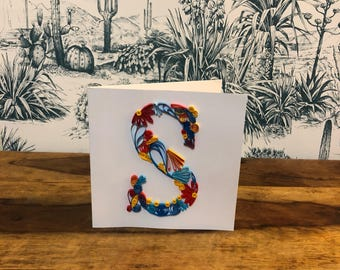 Personalised Initial Card, Quilled Letter Card, Greetings Card, Alphabet Card,