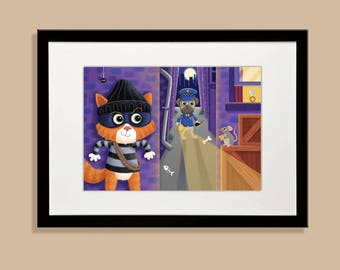 Cat Burglar A4 Print