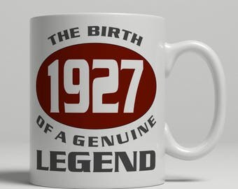 Legend 90th Birthday mug, 90th birthday idea, born 1927 birthday, 90th birthday gift, 90 years old, Happy Birthday, EB 1927 Legend