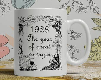 Vintage wine mug, Born 1928, 90th Birthday mug, 90th birthday idea, 1928 birthday, 90th birthday gift idea, Happy Birthday, EB 1928 Vintage