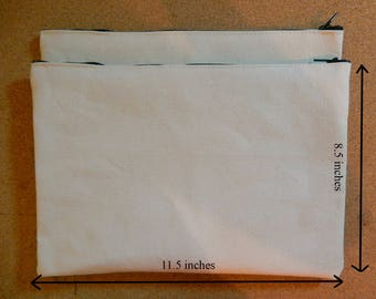 LARGE Plain Raw Canvas Zippered Pouch