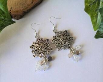 Rose quartz, tourmaline and agate earrings