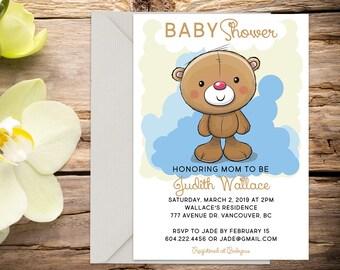 Teddy Bear Baby shower invite, baby shower, baby boy invitation, shower invitation, printable invitation, digital invitation
