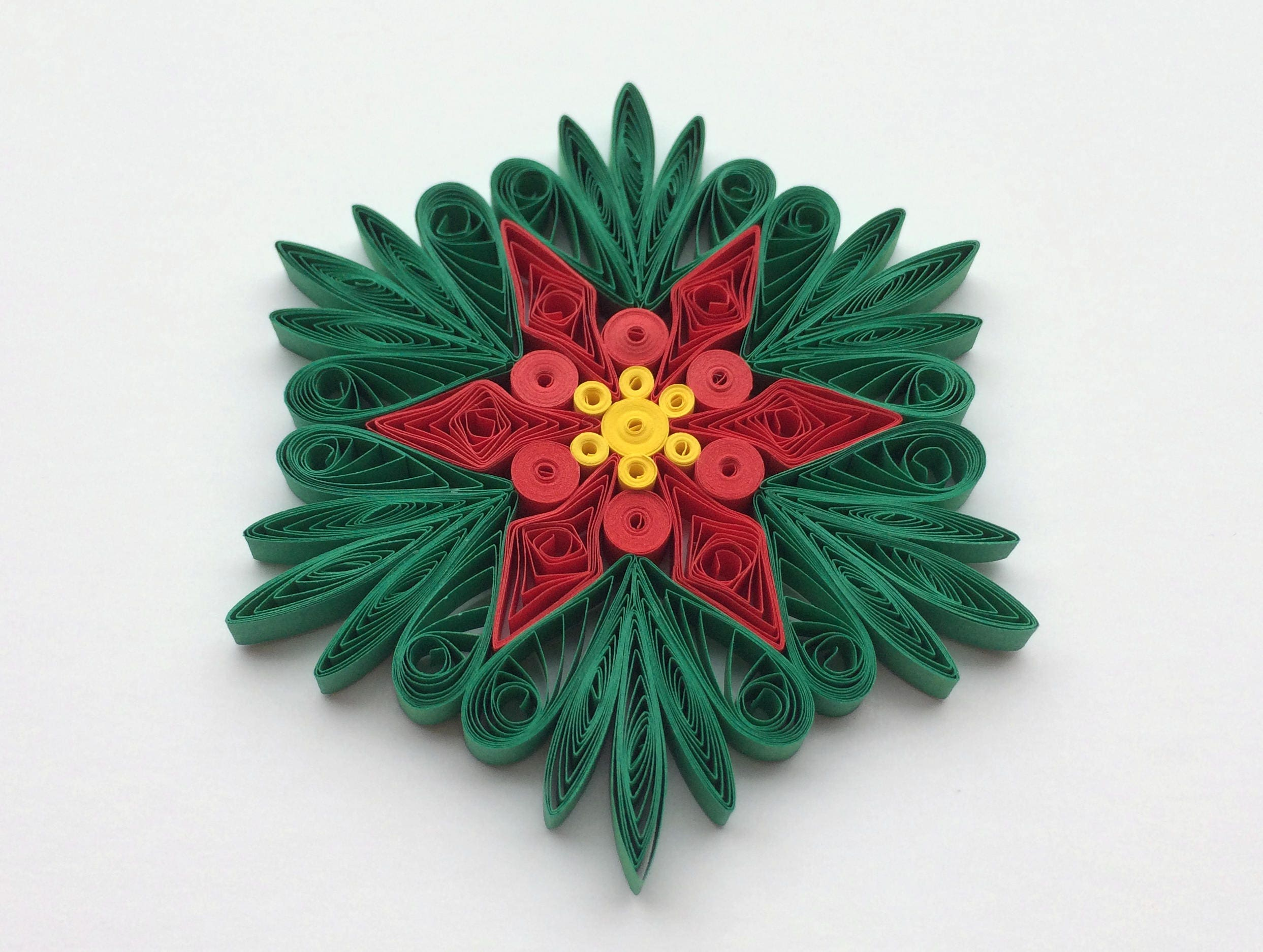 Snowflakes Poinsettia Green Red Yellow Christmas Tree