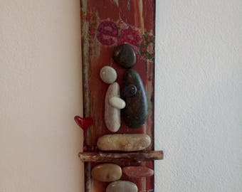 Love...Couple with pebbles, 3D Wall Art