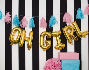 Oh Girl Rose Gold balloons | silver mylar foil letter balloon banner, gold balloons, baby shower, party balloons, birthday, DIY tassels