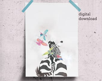 Zebra Print Wall Art Safari Animals Print, Modern Safari Art, Printable Zebra Art, Animal Butt Print, Birds on Zebra Butt
