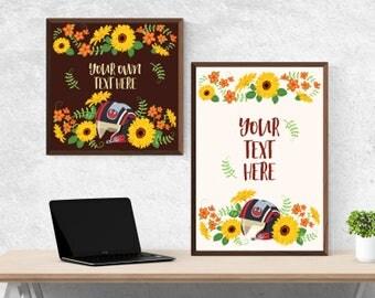 Rebel Sunflowers Typography Poster - Custom Text