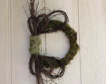 Wreath, Free Shipping, Birch Wreath, Natural Wreath, Moss Wreath, Natural Decoration