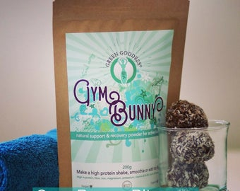 200g Gym Bunny Organic Protein Powder, Vegan plant protein, Gluten free superfoods and 100% Organic hand blended in the UK