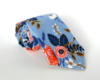 Blue Floral Necktie || Navy Pink Coral White Cotton Mustard Brown Powder Blue Tie Summer Wedding Gift For Him Mens Accessory Various Sizes
