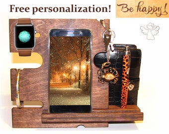 iWatch dock Charging dock iPhone stand wood Docking station wood Charging station organizer Apple watch stand iPhone holder Gifts for men