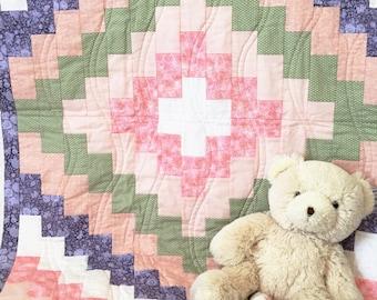 Baby Girl Crib Quilt - Peach, Purple, Green