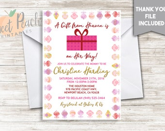 Christmas Baby Shower 'A Gift From Heaven' Invite 5x7 Digital Personalized Baby Sprinkle Invitation Ornaments 78.0