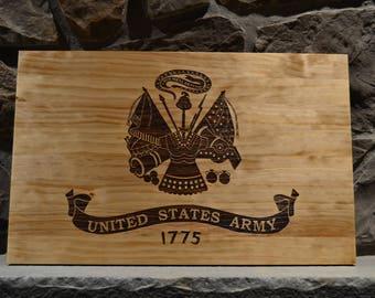 Laser engraved wood US Army flag