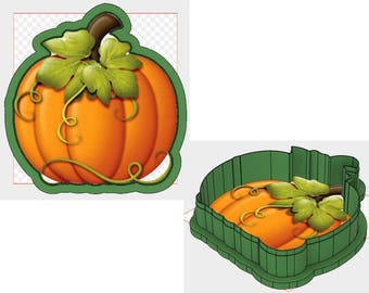 Pumpkin with Vines and Leaves Cookie Cutter