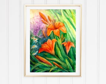 Herb print Large orange art Orange art print Print flower orange Lily print lily Tiger lily Exotic garden plant Summer garden art gift4her