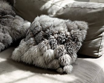 gray fur designer pillow cover