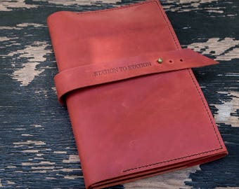 FREE MONOGRAM A4-A5 Leather Sketchbook - Drawing Book - Portfolio - Artist accessories - Monogram - Red leather unbranded
