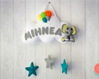 Elephant Baby Mobile - Boy Nursery Mobile - Nursery Decor - Personalized Gifts - Baby Gifts Ideas - Baby Crib Mobiles - Hanging Baby Mobile