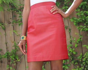 Vintage Red Leather Fitted Skirt