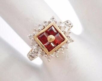 Garnet Ring, Diamond Ring, Gold Ring, Vintage Ring, 10k Yellow Gold .36 TCW Princess Cut Garnet & Round Diamond Ring #3088