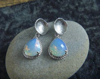 Silver Earrings: pink opal