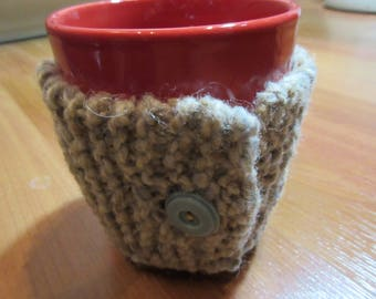 Knitted Tea Cozy - Coffee Cozy - Mug Cozy - Cozies - Beverage Insulator - Handmade - Mug Hug - Hand Knit - Beverage Cozy - Vintage Buttons