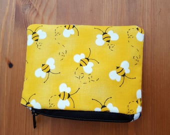 Bumble Bee Purse in Yellow, Purple, Blue, Pink or Green Poly-Cotton Bee print fabric with Black and White Chevron lining for money/cards/etc