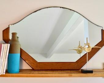 Grand miroir art déco acajou