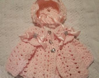 Crochet baby cardigan bonnet newborn to 6-12months