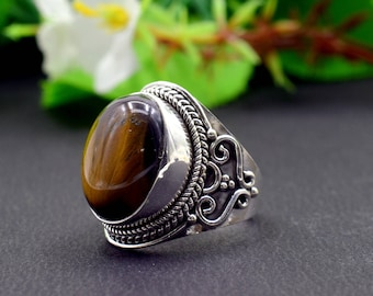 Natural Tiger's Eye Oval Gemstone Ring 925 Sterling Silver R810