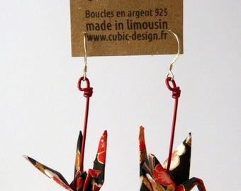 Origami crane red plum earrings
