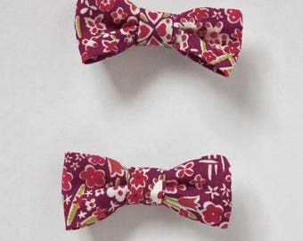 2 fabric Liberty Kayoko purple attached to Alligator Clip bow barrettes