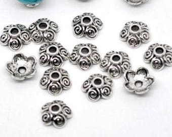 Beads, bead caps, caps for beads, flower, flowers, silver, 10 mm