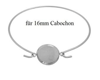 Bangle, cuff, version, Cabochon, 16 mm, silver bracelet