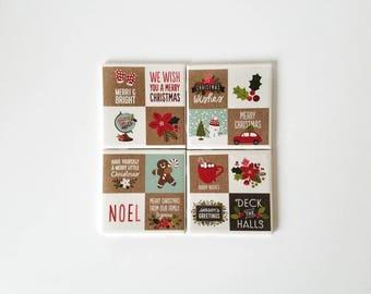 Christmas tile coasters, Christmas table decor, ceramic coasters, tile coaster, housewarming gift, Christmas party