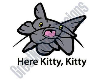 Here Kitty, Kitty SVG - HTV - Vinyl Cutting Graphic Art