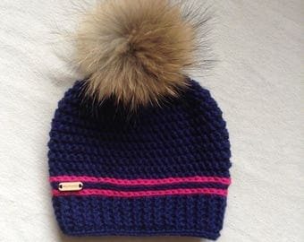 Crochet hat, fur, Navy Blue Pom Pom, ready to ship