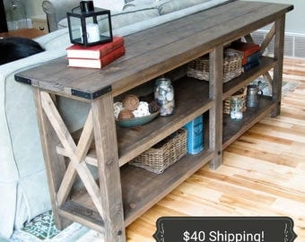 Rustic X Console Table, Entry Way Table, Buffet